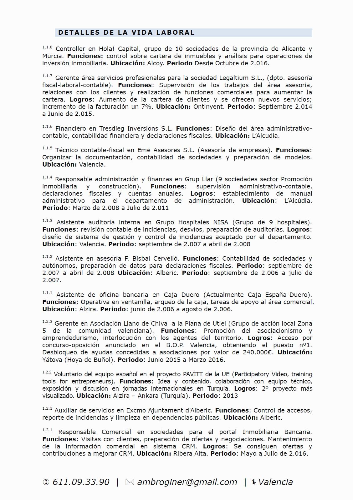 Mi curriculum Vitae - Inversiones inmobiliarias en Valencia * Ambro ...